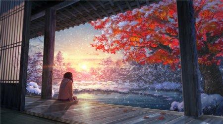 日本动漫卡通二次元冬日的黄昏夕图片