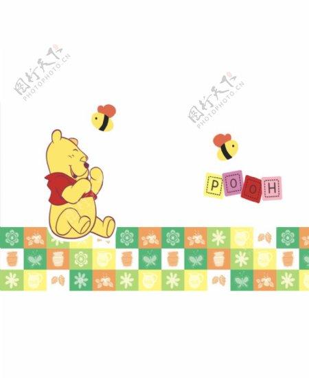 儿童卡通维尼熊形象墙图片