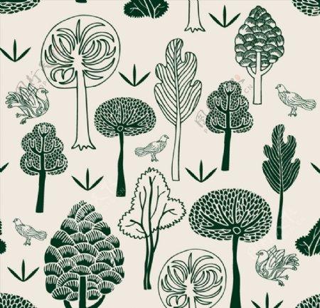 手绘森林与鸽子图片