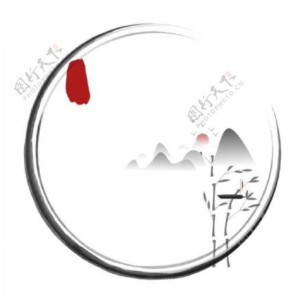 中式水墨边框中国风印章边框矢量图片