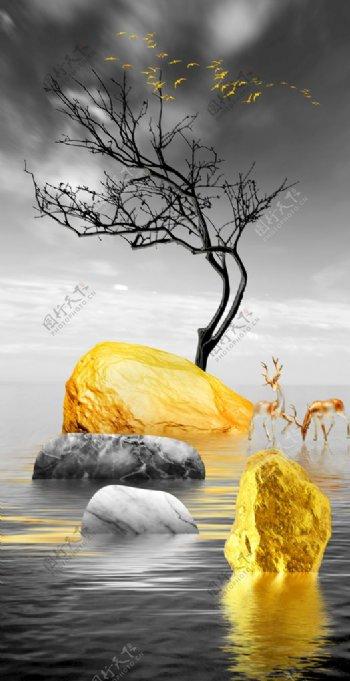 禅意山石图片