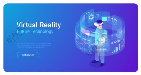 科技抽象vr插画图片