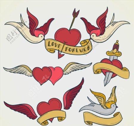 卡通爱心与鸽子图片