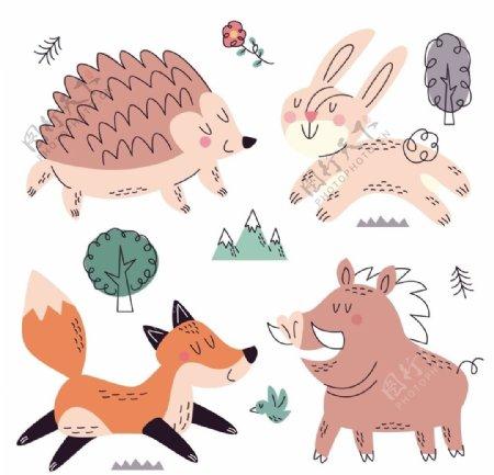 可爱卡通手绘小动物插画设计图片