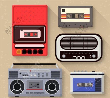 复古磁带与录音机图片