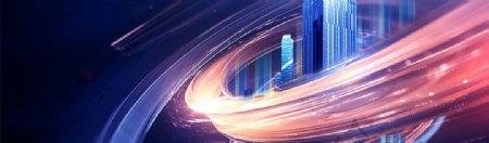 蓝色科技房地产高端背景图片