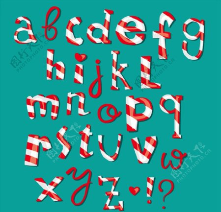 条纹糖果字母图片
