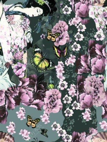 蝴蝶日本女人图片