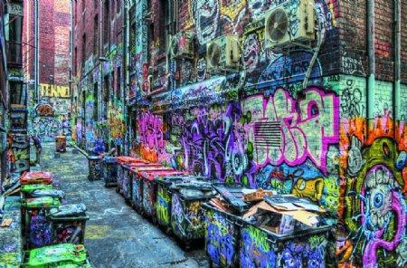 街头墙体涂鸦垃圾桶涂鸦装饰图图片