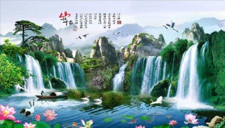 山水情荷花鹤松树背景墙图片
