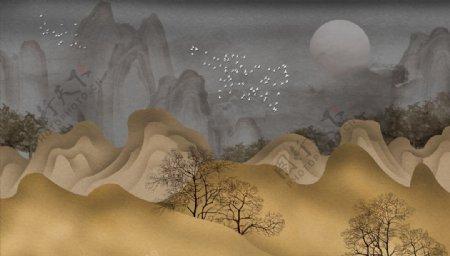 水墨画高山树鸽子背景墙图片