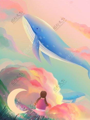 玫瑰色梦幻鲸鱼女孩与日落治愈系图片