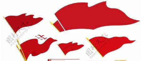 红旗造型旗帜祥云图片