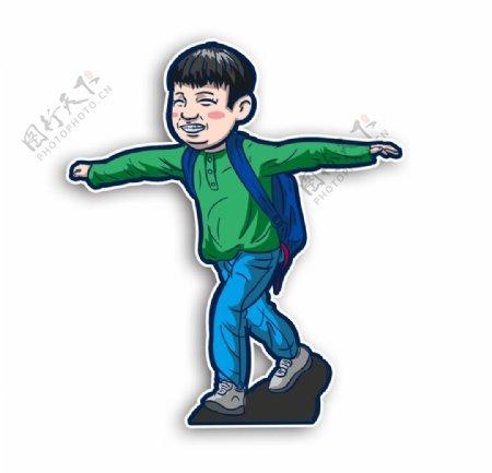学生上学背书包开心跑步开心开学图片