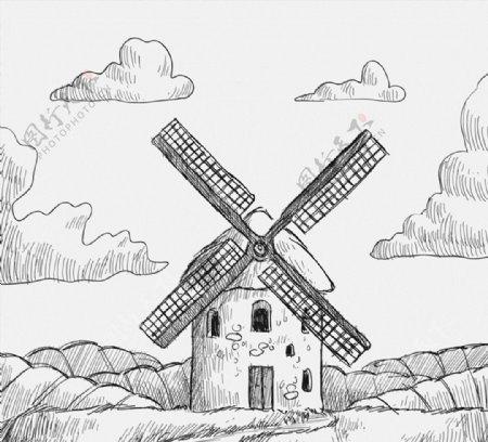 手绘风车磨坊图片