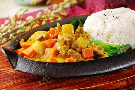 亚洲饭食铁板咖哩牛肉饭图片