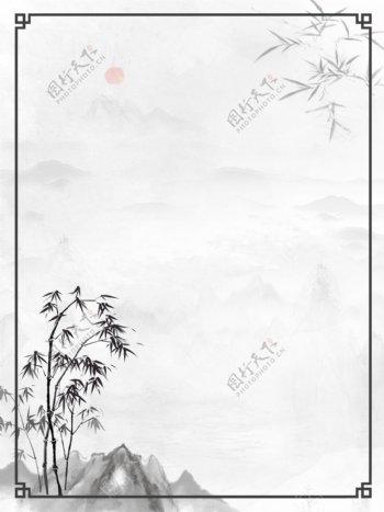 中国风竹子水墨山水背景图片