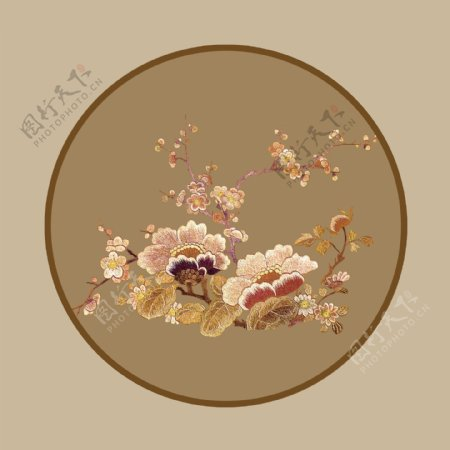 刺绣花枝图片