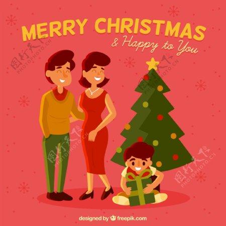 圣诞拆礼包的孩子图片