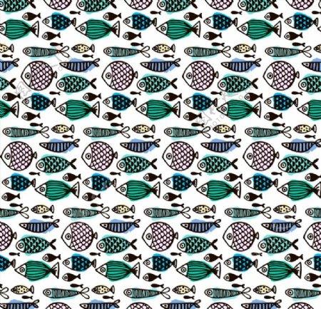 彩绘鱼类无缝背景图片