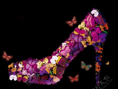 蝴蝶高跟鞋图片