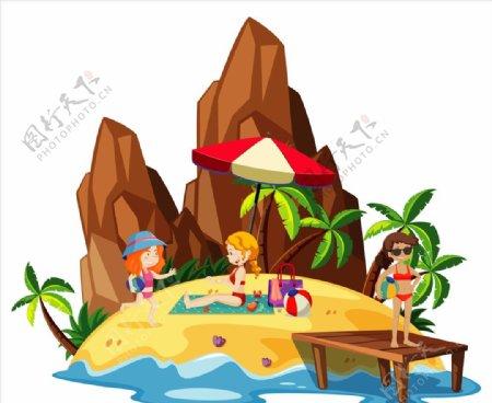 卡通夏天儿童图片