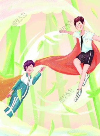 儿童学生超人唯美手绘插画ps图片