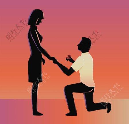 卡通人物求婚图片