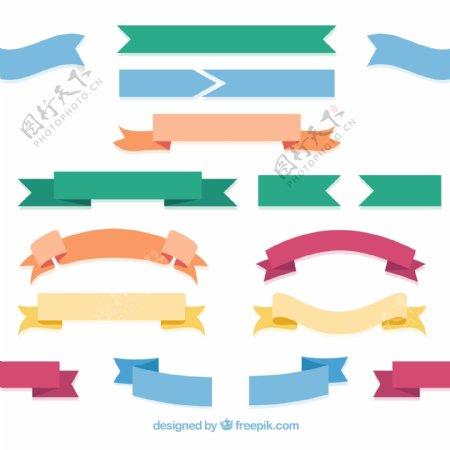 扁平化丝带条幅图片
