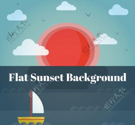海上日落风景图片