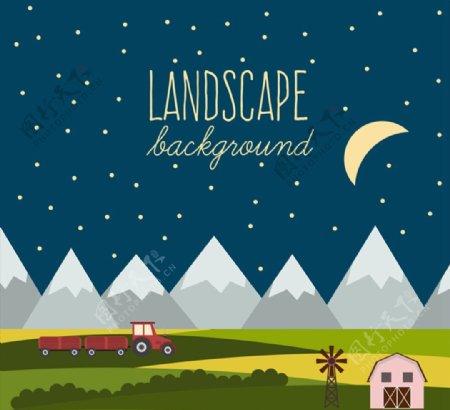 夜晚山边农场风景图片