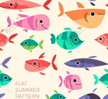 卡通鱼类无缝背景图片