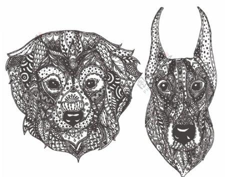 动物抽象图案白描图图片