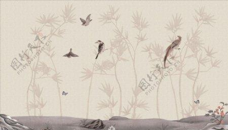 水墨画竹子飞鸟背景墙图片