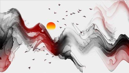 水墨画太阳大雁飘带背景墙图片