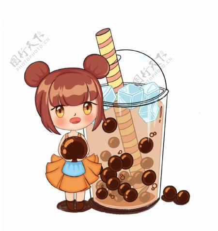 可爱卡通女孩和奶茶图片