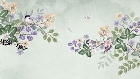 浮雕花蝴蝶小鸟背景墙图片