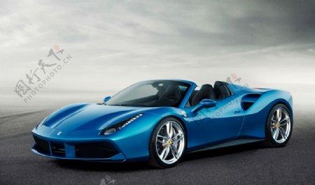 法拉利蓝色跑车图片