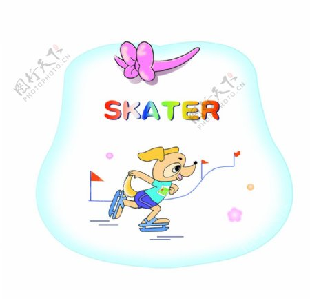 小狗滑冰图片