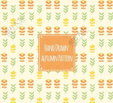 秋季花草无缝背景图片