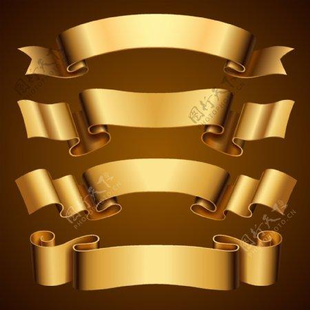 金色丝带条幅图片