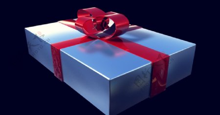 C4D模型锡箔礼盒银色礼物图片