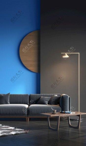 深灰色和天蓝色搭配图片
