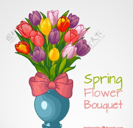 春季郁金香插花矢量素材图片