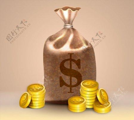 精美钱袋和金币图片