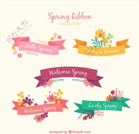 春天主题修饰丝带图片