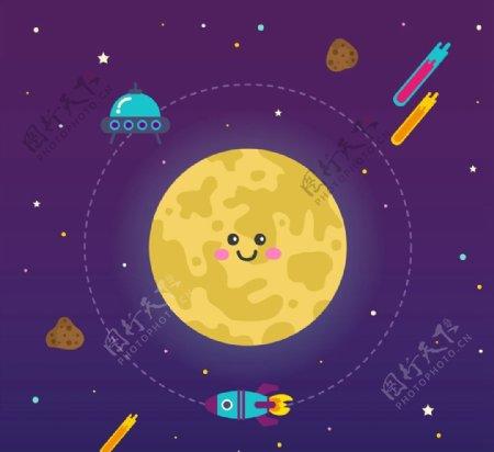 笑脸月亮和火箭图片