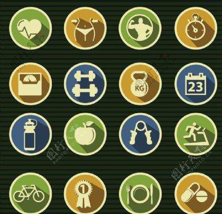 精致健身元素图标图片