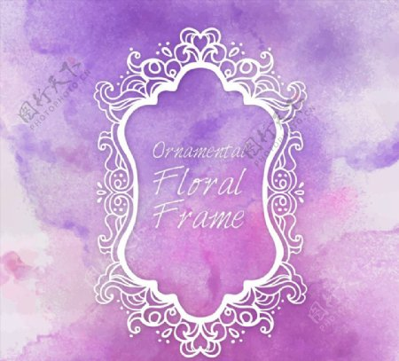 花纹框架紫色背景图片