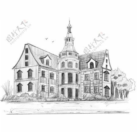 素描建筑线稿手绘欧式建筑线稿图片